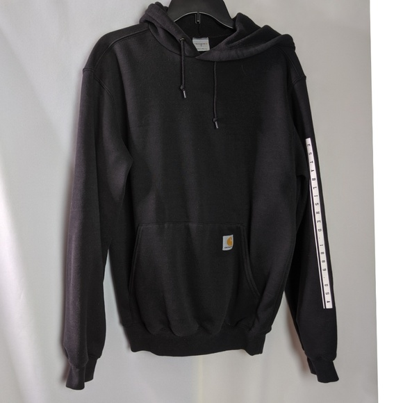 Carhartt Other - Carhartt Black Hoodie With White Logo Sleeve Sz S